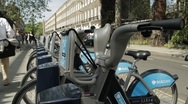 London Cycle Hire in Bloomsbury Stock Footage