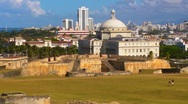 Stock Video Footage of Puerto Rico - Capitol Building from San Cristobal Fortress
