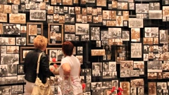 Wall with old photos Stock Footage