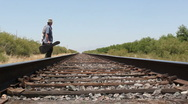 Traveler Chooses A Direction Stock Footage