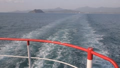 Water trail behind a boat Stock Footage