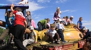 Childrens on the tanks Stock Footage