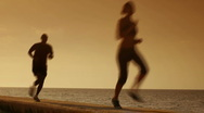 People doing sport activities near the sea Stock Footage
