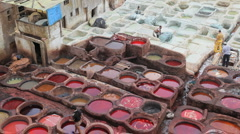 Local manual workers at the Leather Tanneries, Fez, Morocco, Africa Stock Footage