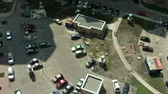 Yard residential new home top view relax people, parking Stock Footage