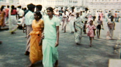 India 1970s – Crowd walking the Street Flower Vendors - Vintage Super8 Film Stock Footage