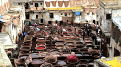Local workers at the Medieval Leather Tanneries, Fez, Morocco, Africa Stock Footage