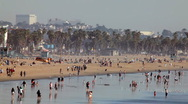 Stock Video Footage of beach - busy day wide shot