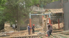 Construction on White Pagoda Hill in Lanzhou, China. Stock Footage