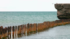 Remains of iron pier Stock Footage