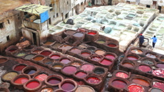 Manual workers at the Leather Tanneries, Fez, Morocco, Africa Stock Footage