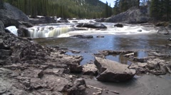 Dolly shot time-lapse, Elbow falls and foreground Stock Footage