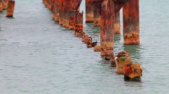 Stock Video Footage of old pier destroyed by corrosion