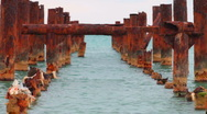 Stock Video Footage of rusty old pier