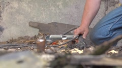 Cutting through a bolt with a plasma cutter, generating sparks. 4:2:2 file Stock Footage