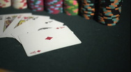 Full House - Aces Full of Kings - Poker Hand with Stacks of Chips at Casino Stock Footage