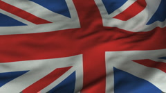 Seamless Waving British Flag with Fabric Texture Stock Footage
