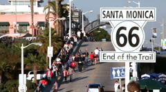 Santa Monica Pier - end of the trail route 66 Stock Footage