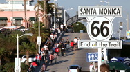Stock Video Footage of Santa Monica Pier - end of the trail route 66