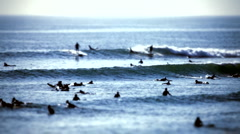 surfer group 02 - tilt/shift lens - stock footage