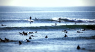 Surfer group 02 - tilt/shift lens Stock Footage
