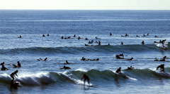 Surfer group 03 - wave riders and yacht Stock Footage