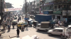 Pumping traffic Islamabad bazaar (time lapse) - stock footage