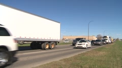 Trucking, several trucks wide shot, #2 Stock Footage