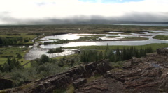 View from Thingvellir, the Viking Parliament in Iceland Stock Footage