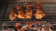 Closeup of meat roasting on the garden grill Stock Footage