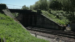 Railway line in English countryside Stock Footage