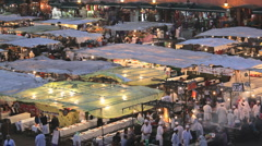 Food Stalls in the Djemma  El- Fna  Square, Marrakech, Morocco, Africa Stock Footage