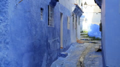 Traditional blue stone home in the village of Chefchaouen, Morocco - stock footage