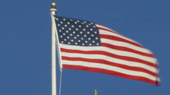 American flag waving in the breeze Stock Footage