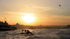 Sunset in Bosporus, Istanbul Stock Footage