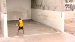 Racketball Player- Venice Beach, CA Stock Footage