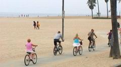 Venice Beach Bike Riders Stock Footage