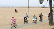 Venice Beach Bike Riders Stock Footage