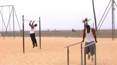 Young Men Working Out- Venice Beach Stock Footage
