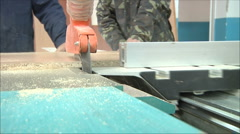Machine for cutting wood in the furniture factory Stock Footage