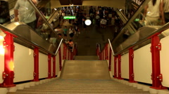 Escalators in the Siam station crowded with passengers Stock Footage