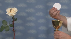 Cup and Host  - Rose with Cross - stock footage