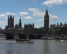 London Houses of Parliament across the Thames Daytime GFSD Stock Footage