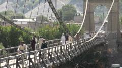 Wooden bridge in Gilgit Stock Footage