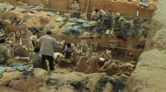 Terracotta Army - excavation - 1 Stock Footage