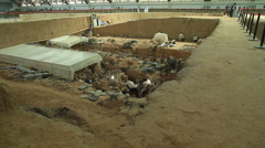 Terracotta Army - excavation - 4 - stock footage