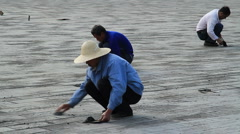 Workers repairing the grounds of the Temple of Heaven, Beijing, China - 2 Stock Footage