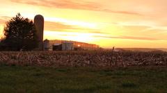 Farm Sunset Ontario 7 Stock Footage