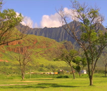Hawaii, Waianae Mountains, lush green valley - stock footage