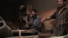 Pakistan restaurant, simple food, preparing fresh bread, bakery shop Stock Footage